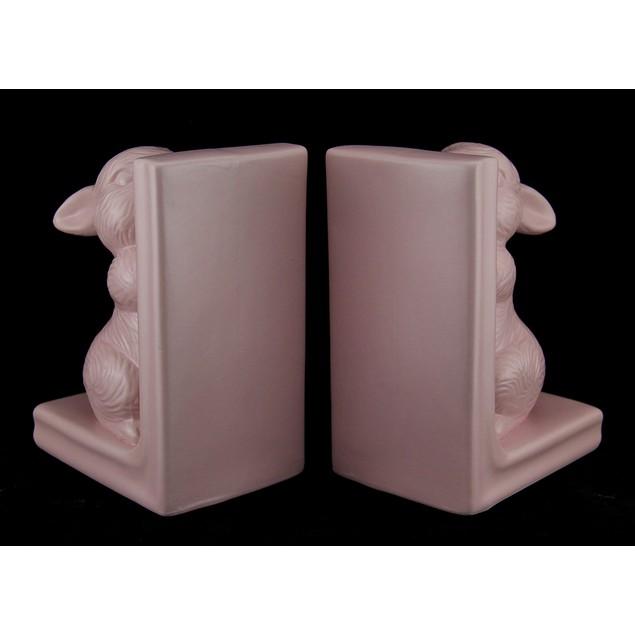 Flora & Fauna Pink Baby Bunny Ceramic Bookend Set Decorative Bookends