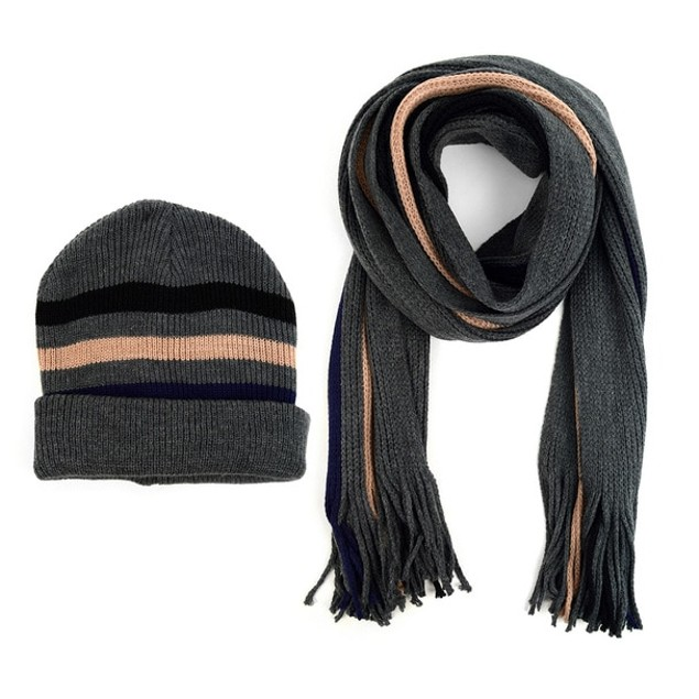 Men's Winter Knit Striped Scarf and Hat Set