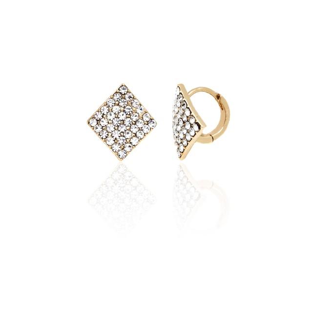 Gold & Crystal Square Huggie Earrings