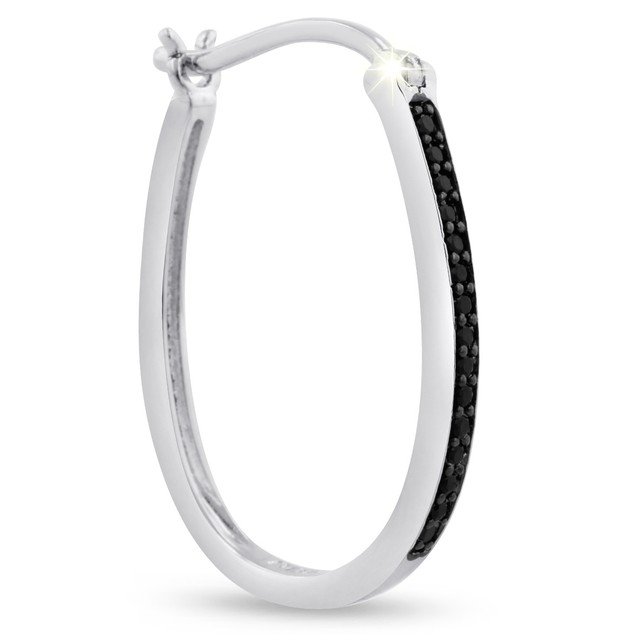 1/4ct Oval Shape Black Diamond Hoop Earrings