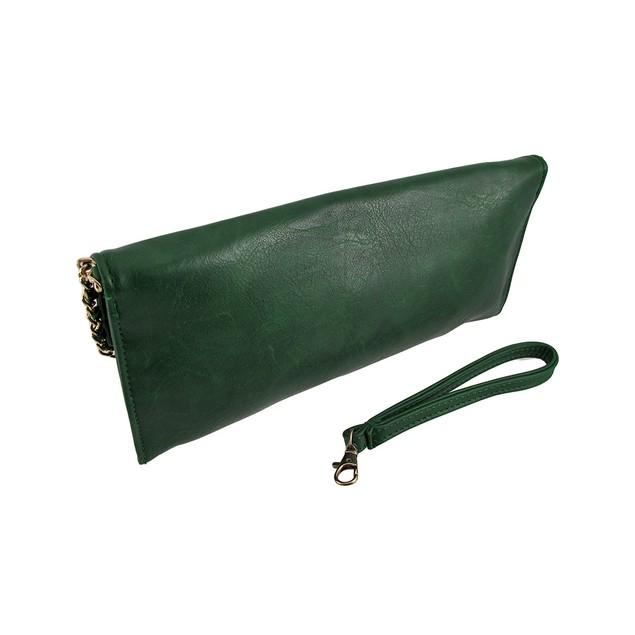 Sleek Green Vinyl Clutch Purse With Gold Chain Womens Clutch Handbags