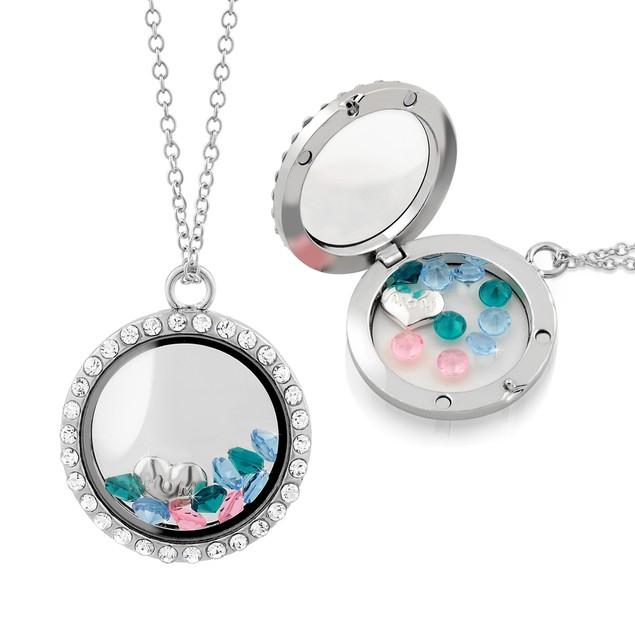 Mom Floating Charm Locket Necklaces - Blue/Pink