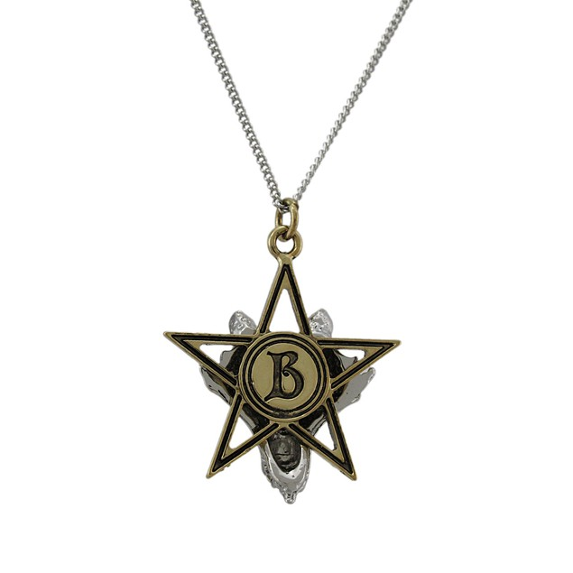 Two Tone Wolf Pentagram Pendant W/ Necklace Power Mens Pendant Necklaces