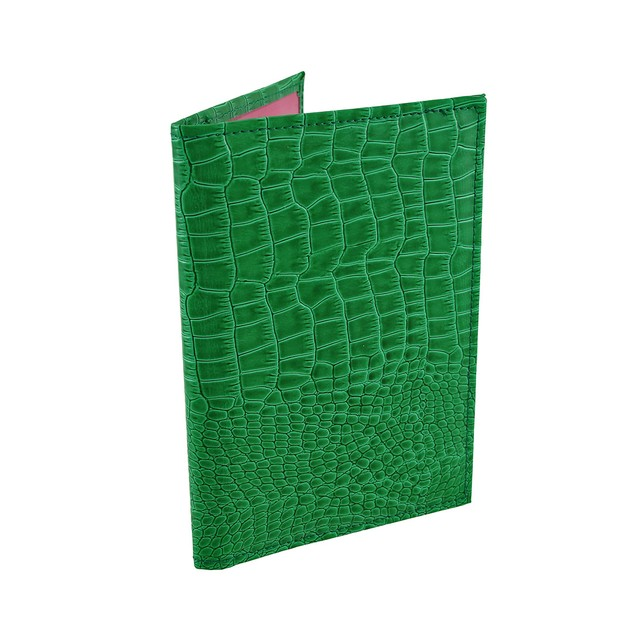 Glossy Green Mock Croc Textured Vinyl Passport Passport Holders