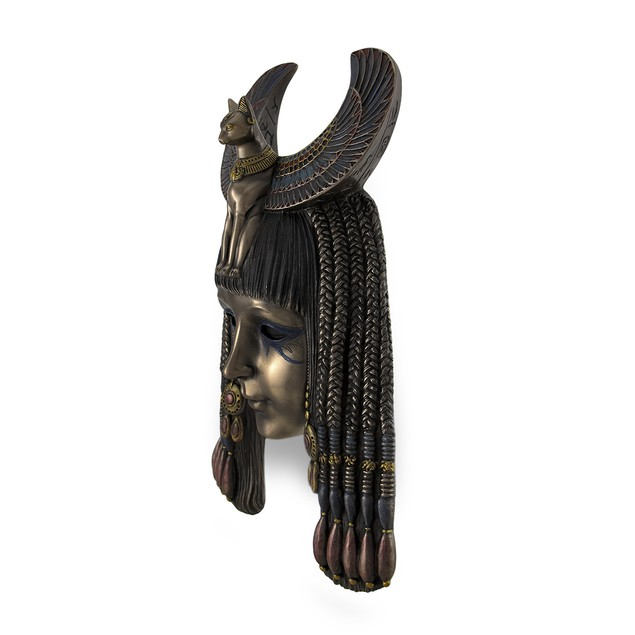 Egyptian Goddess Bastet Headdress Mask Bronzed Wall Sculptures