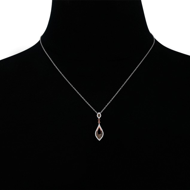 1/4ct Champagne and White Diamond Necklace In 14 Karat Rose Gold