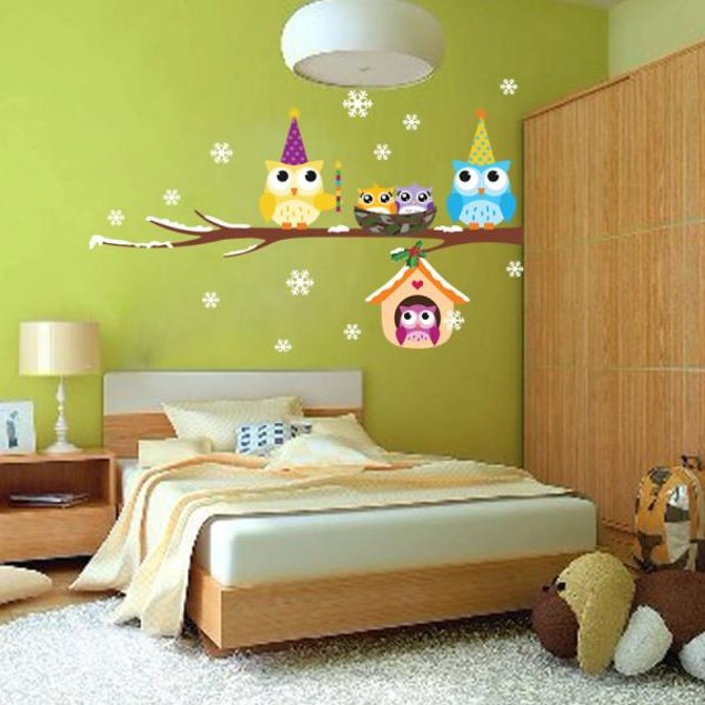 Cute Owl Snowflake Wall Stickers Christmas Decor