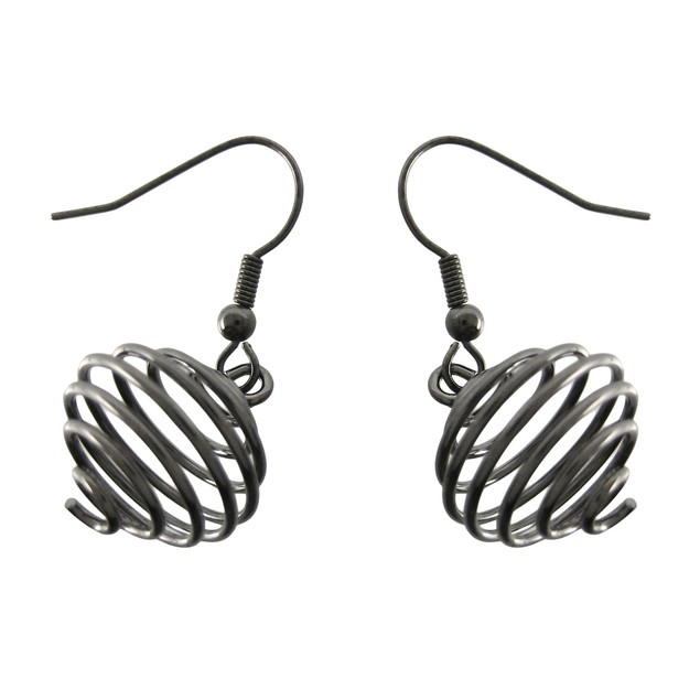 Gunmetal Spiral Wire Orb Necklace / Earrings Set Womens Earring And