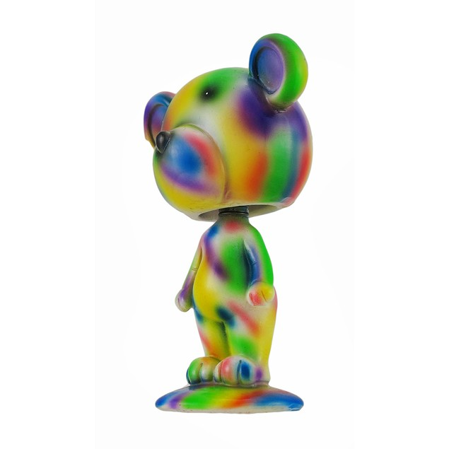 Colorful Tie Dye Bobble Head Bear Statue Statues