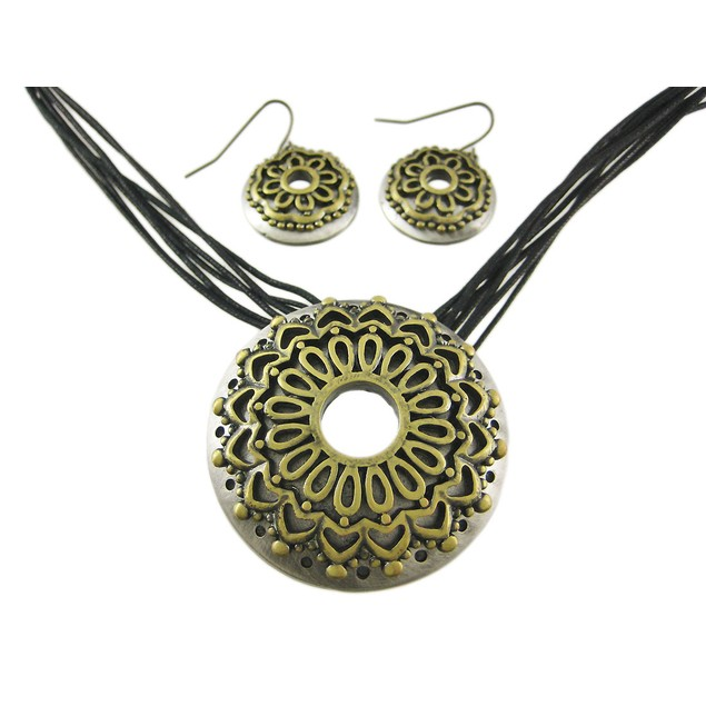 Two Tone Flower Multi-Strand Necklace And Earrings Womens Earring And