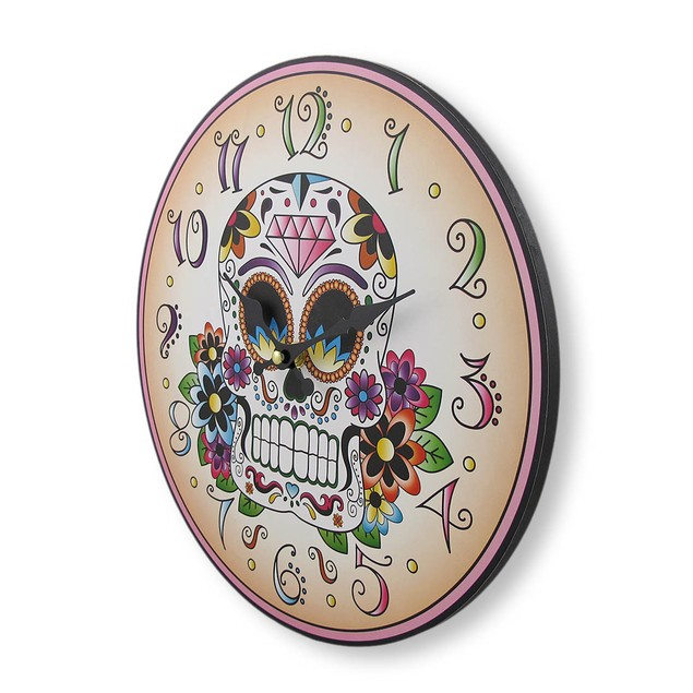 Day Of The Dead Sugar Skull 12 Inch Round Wall Wall Clocks