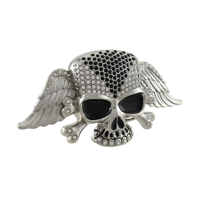 Winged Skull And Crossbones Belt Buckle With Mens Belt Buckles