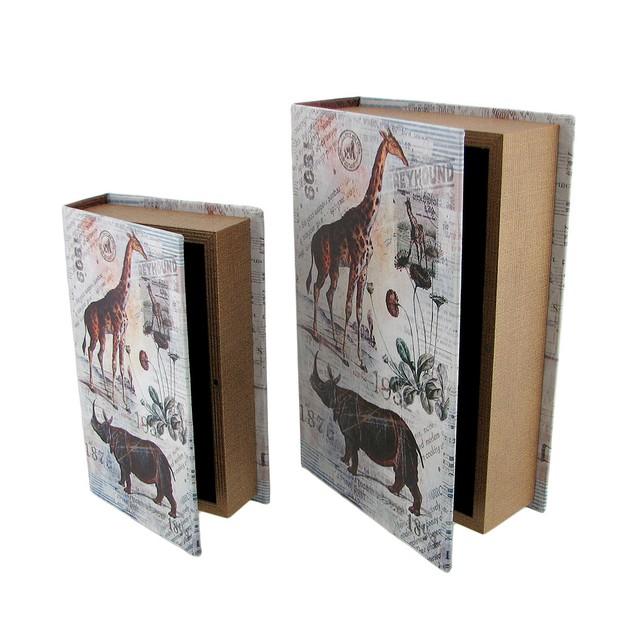Set Of 2 Animal Postcard Print Faux Leather Book Decorative Boxes