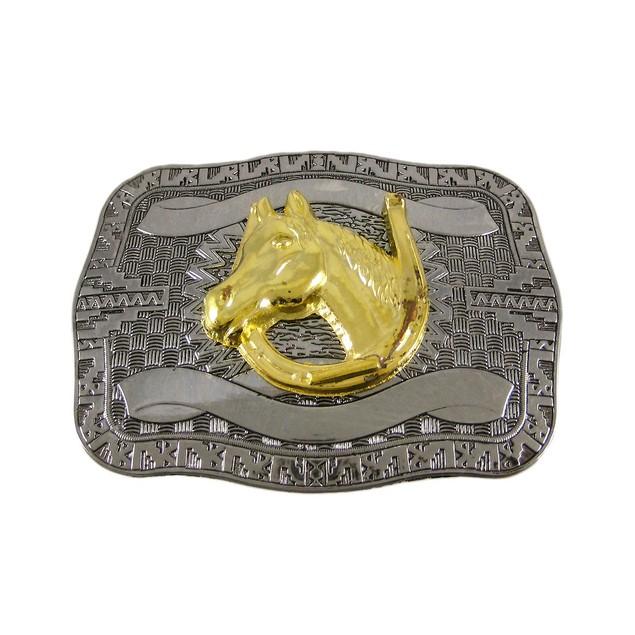 Chrome Plated Golden Horse Head Western Belt Mens Belt Buckles
