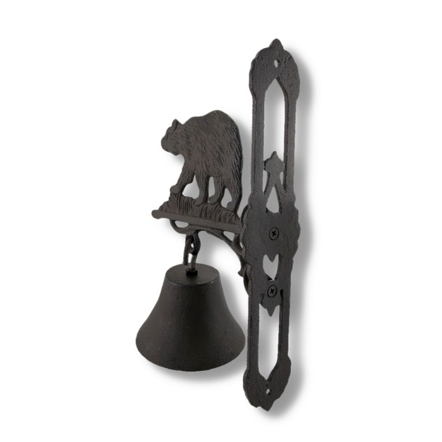Wall Mounted Cast Iron Bear Bell With Rust Patina Wall Sculptures
