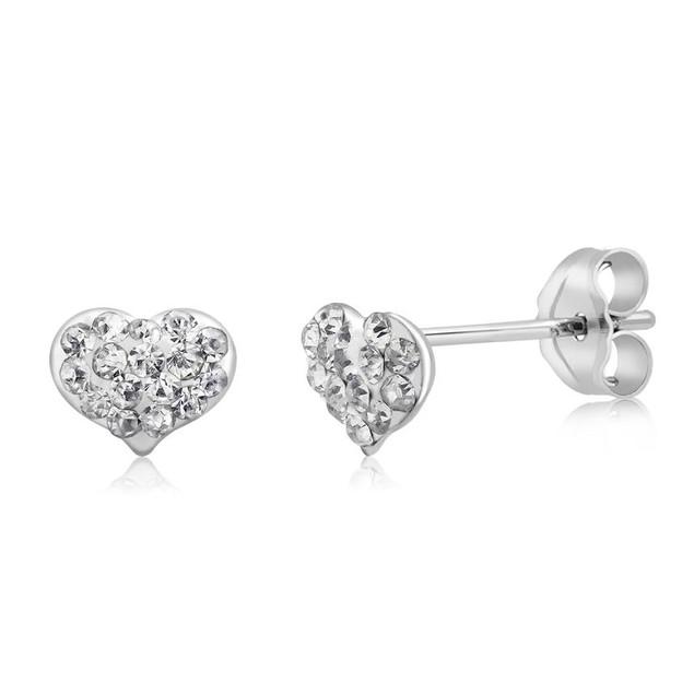 Sterling Silver Crystal Heart Stud Earrings