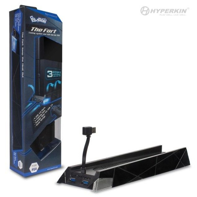 "PS4 ""The Fort"" Vertical Cooling Stand with 4-Port USB 3.0 Hub - Polygon"