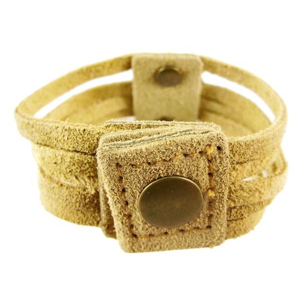 Tan Leather 5 Strip Wristband Bracelet Brass Womens Leather Bracelets