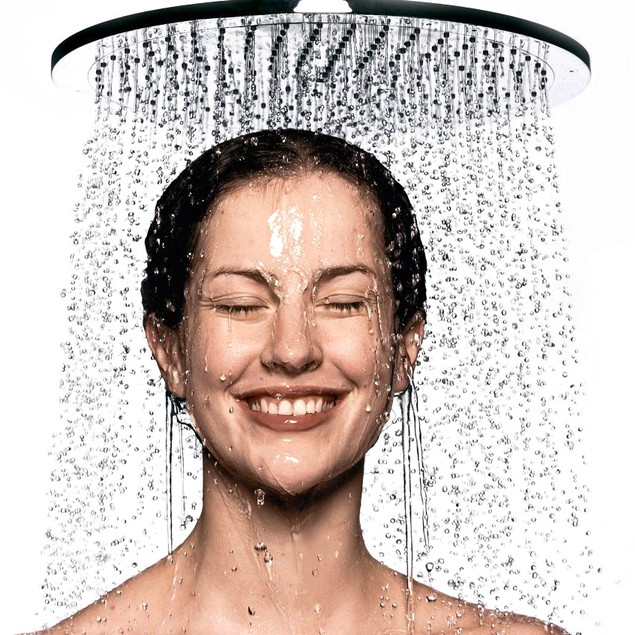 "Rainfall Shower Head Drenching Waterfall High Pressure Jets 8"" Wide"