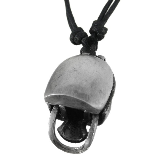 3D Pewter Skull Adjustable Cord Necklace Movable Mens Pendant Necklaces