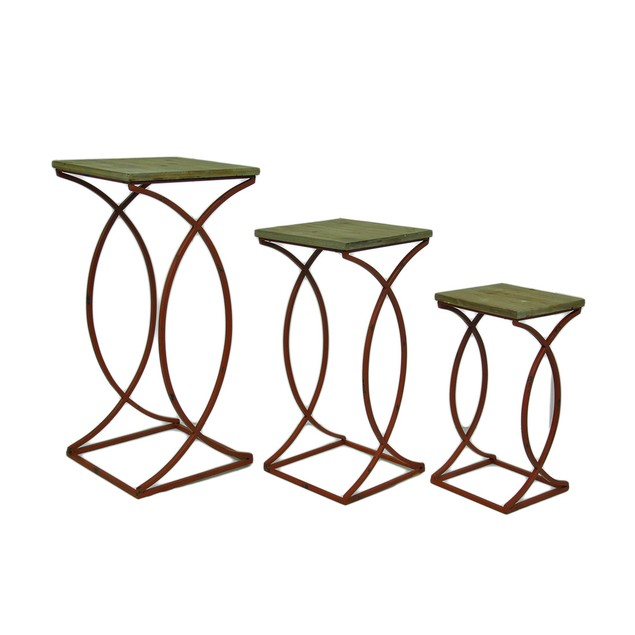 Set Of 3 Rustic Curved Leg Wood Top Nesting Tables Nesting Tables