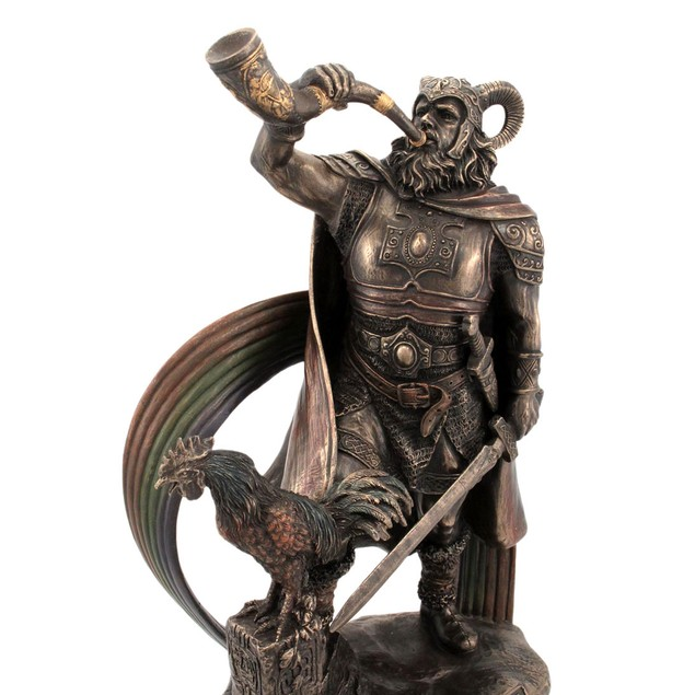 9 1/2 Inch Norse God Heimdall Bronzed Finish Statues