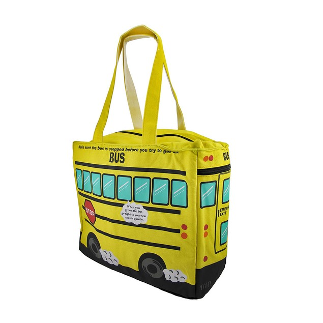 Yellow School Bus Insulated Canvas Tote Bag Womens Tote Bags
