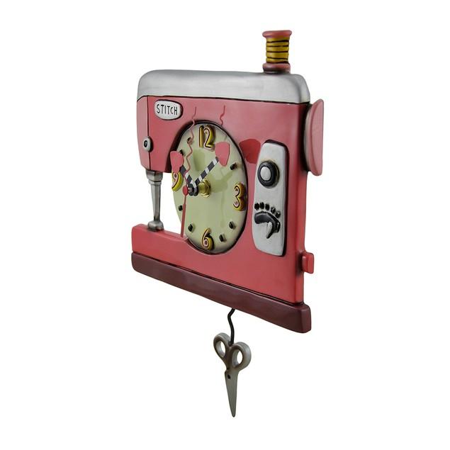 Colorful Double Stitch Red Sewing Machine Pendulum Wall Clocks