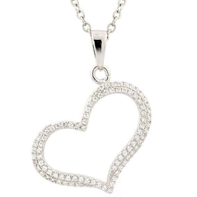 Sterling Silver Simulated Diamond Pave Expanded Heart