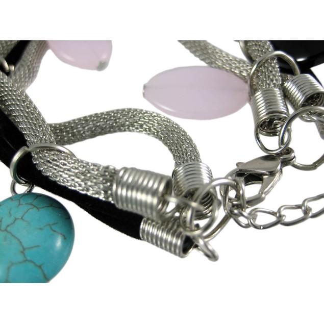 Turquoise & Agate Dangling Multi-Strand Bracelet Womens Bracelets