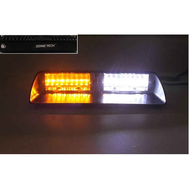 Zone Tech 16 LED Emergency Car Dash Warning Strobe Flash Light Amber/White