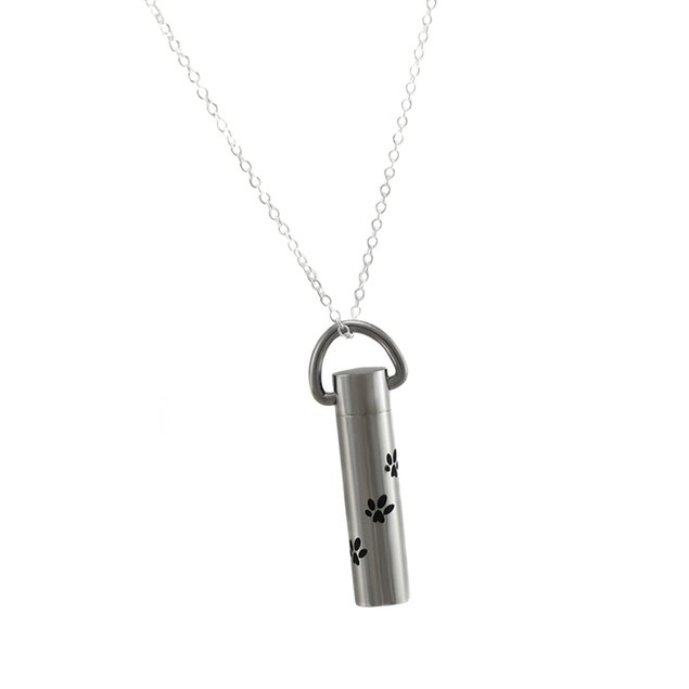 Stainless Steel Paw Prints Keepsake Vial Pendant Mens Pendant Necklaces