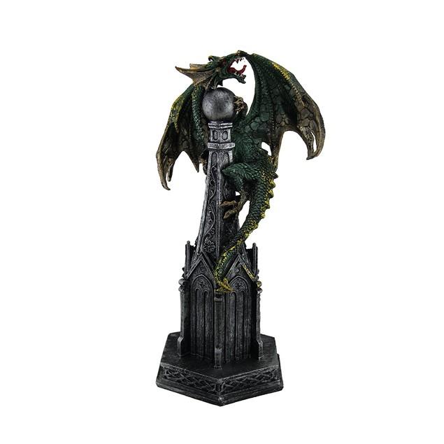 Metallic Green Dragon On Castle Statue Figure Statues