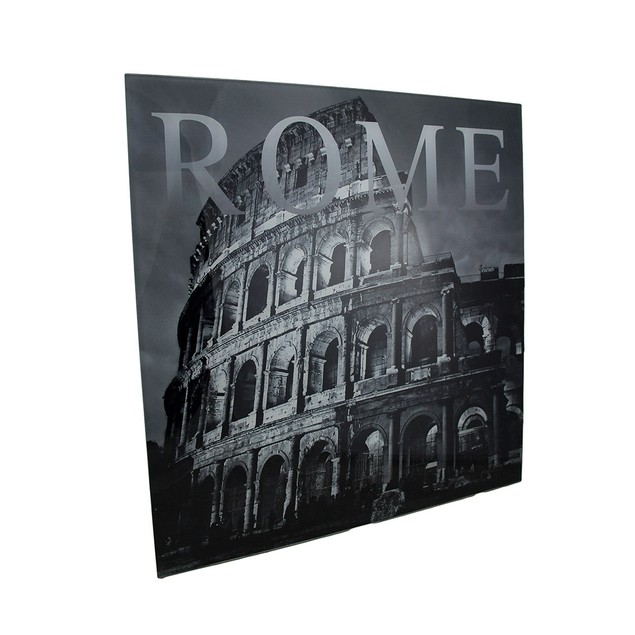 Black And White Glass Rome Colosseum Wall Hanging Decorative Plaques