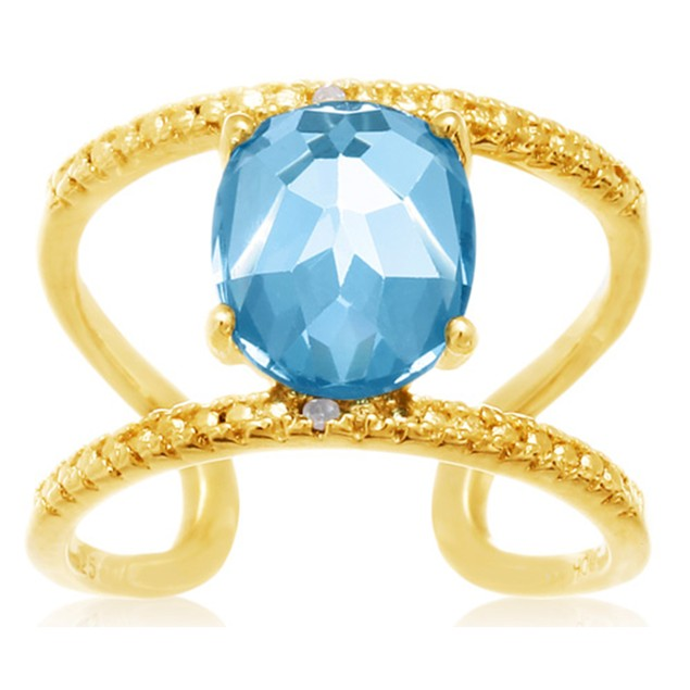 Blue Topaz and Diamond Open Shank Ring