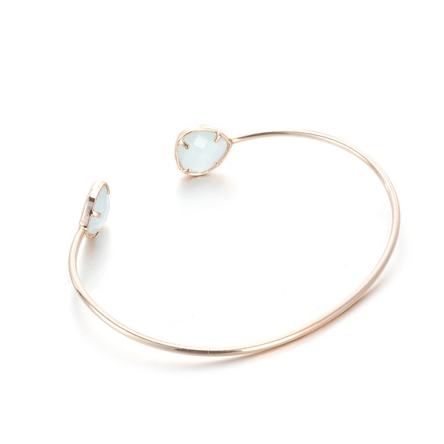 Gold Plated Duo- Light Turquoise Open Ended Bangle