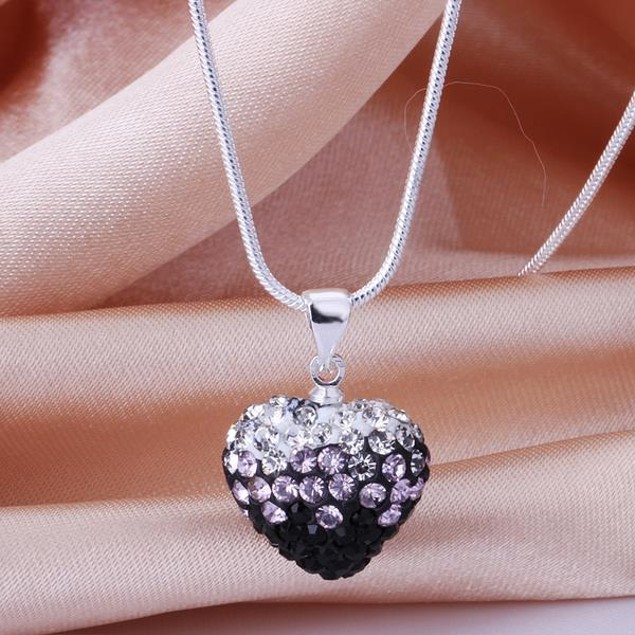 Two Toned Crystal Heart Shaped Necklace - Onyx