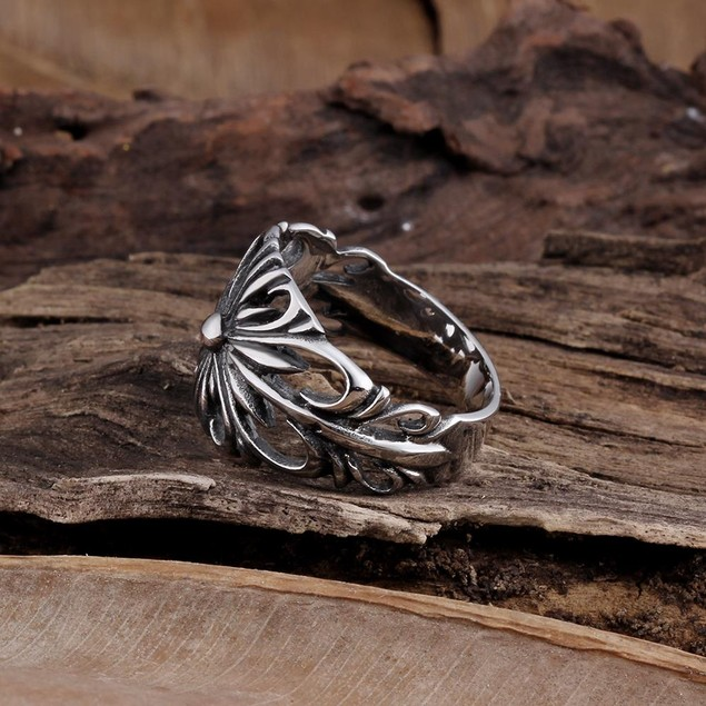 Stainless Steel Hollow Rose Petals Ring