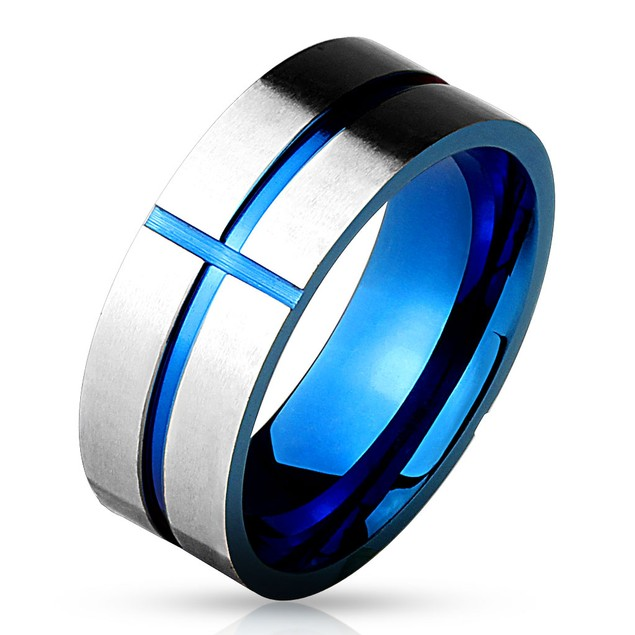Blue IP Cross Grooved And Brushed Finish Surface 316l Stainless Steel Ring