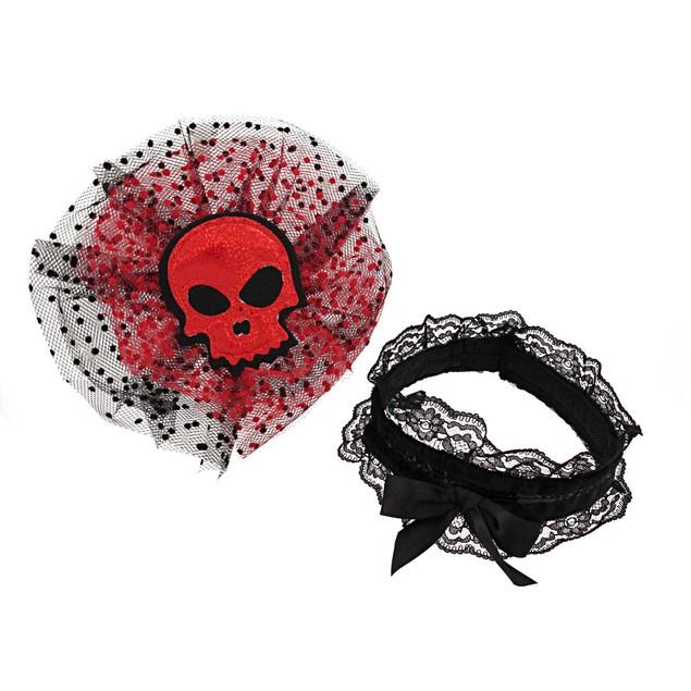 Gothic Red Glitter Skull Tulle Headpiece W/ Black Womens Costume Headwear