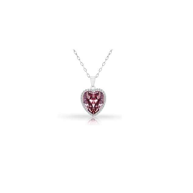 18KT White Gold Plated Halo Amethyst Heart Pendant in Sterling Silver