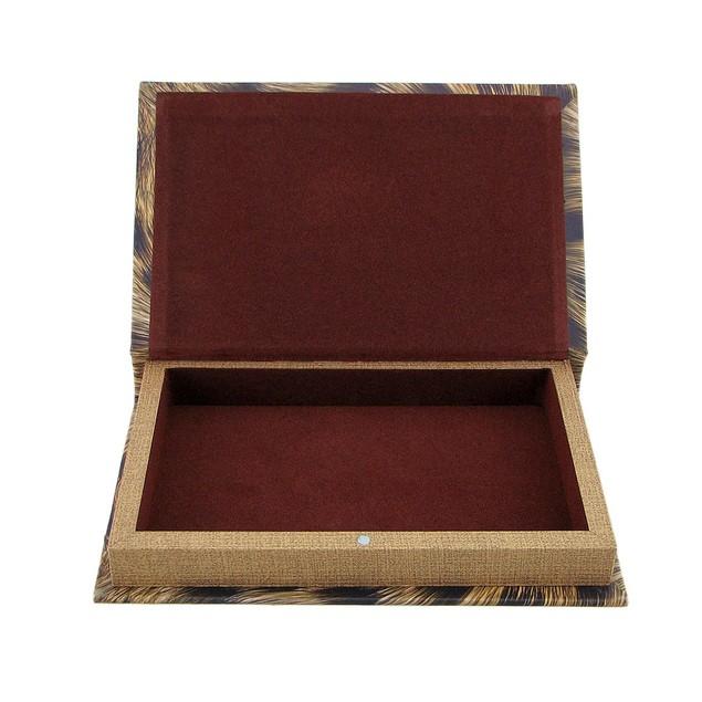 Cheetah Print Faux Leather Book Secret Stash Box Decorative Boxes