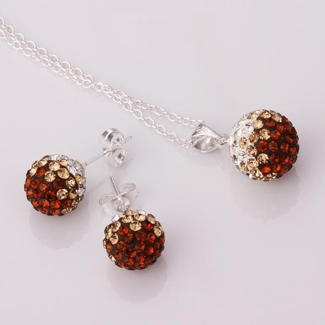 Multi-Pave Earring Studs and Necklace Set - Chocolate Flavor