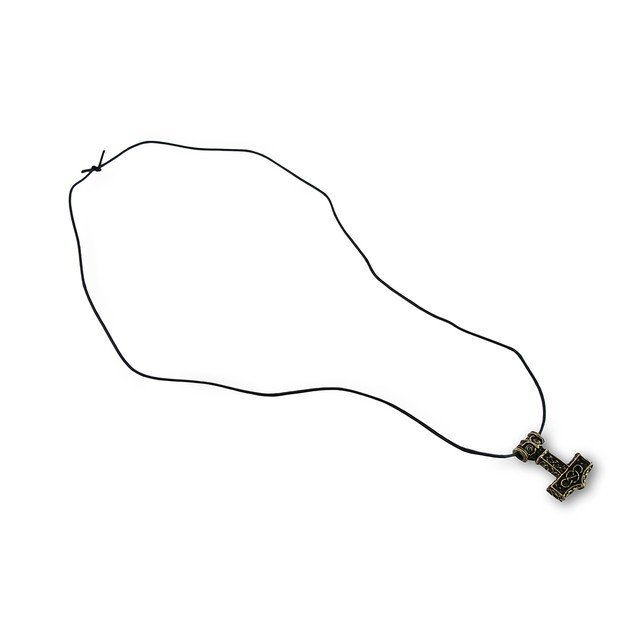 Brass Plated Thor`S Hammer Pendant W/ Cord Mens Pendant Necklaces