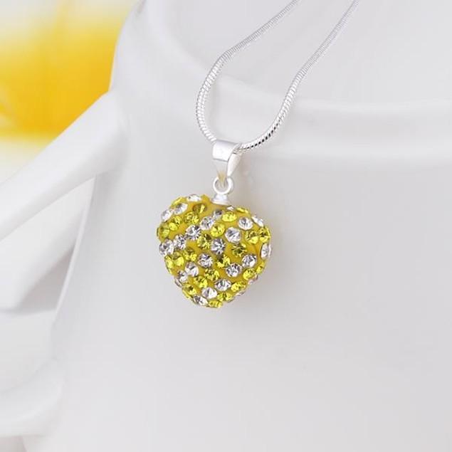 Multi-Toned  Heart Shaped Necklace - Vivid Royal Yellow Citrine