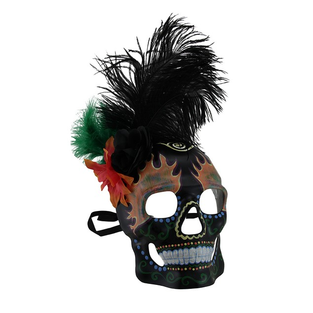 Flowers And Feather Black Day Of Dead Flame Eyes Womens Costume Masks
