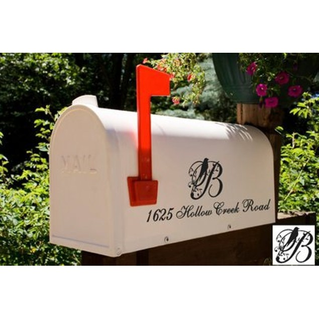 Bird Initial Mailbox Address Decal