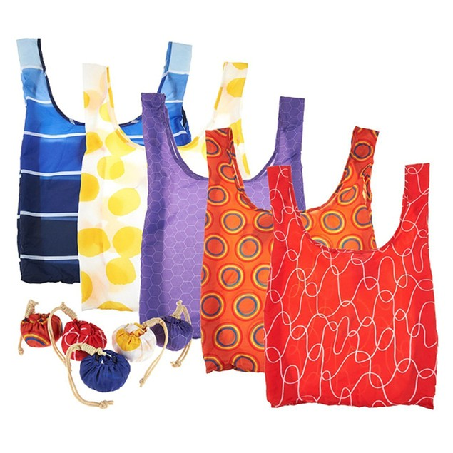 Kikkerland Set of 5 Reusable Shopping Bags