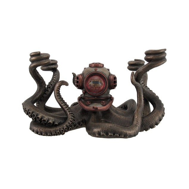 Incredibly Cool Steampunk Diver Octopus 4 Candle Candelabras