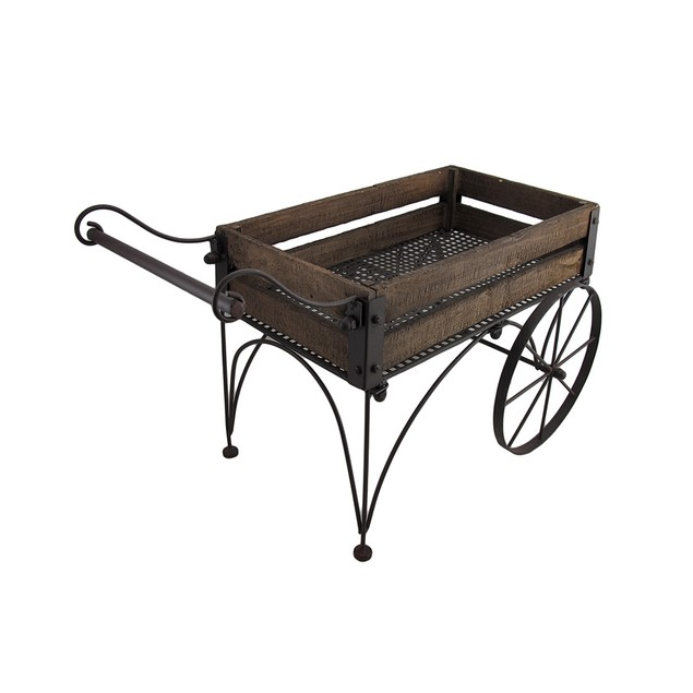Rustic Wood And Metal 2 Wheeled Wagon Cart/Planter Planters